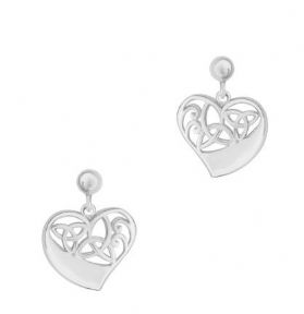 Celtic Trinity Knots Silver Heart Stud Earrings 9408